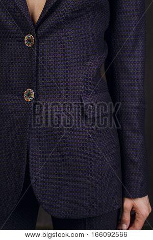 Macro detail of fashion clothes - vinous suit