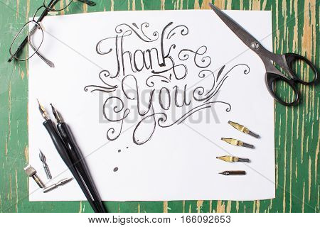Thank You Note Calligraphy With Writing Equipment