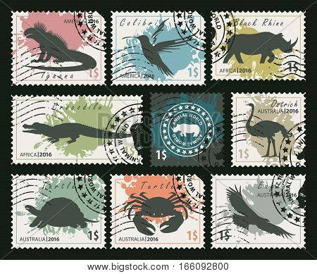 set of postage stamps on the theme of wildlife animals and birds