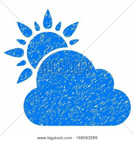 Weather grainy textured icon for overlay watermark stamps. Flat symbol with unclean texture. Dotted vector blue ink rubber seal stamp with grunge design on a white background.