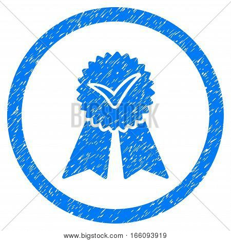 Rounded Approvement Seal rubber seal stamp watermark. Icon symbol inside circle with grunge design and dust texture. Unclean vector blue sign.