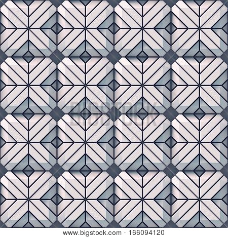 White seamless abstract mosaic texture surface pattern. 3d rendering