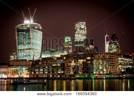 Interesting buildings in London at night long exposure