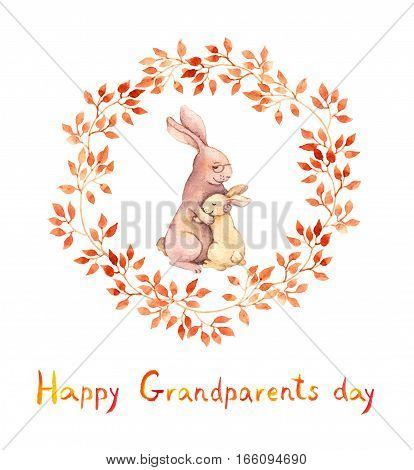 Grandparents day card. Grandma rabbit hugs her grandchild. Watercolor