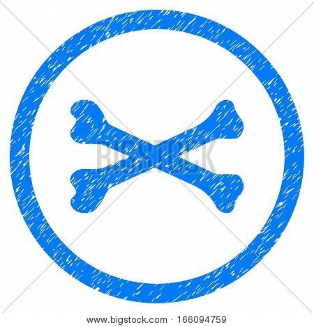 Rounded Bones Cross rubber seal stamp watermark. Icon symbol inside circle with grunge design and scratched texture. Unclean vector blue sticker.