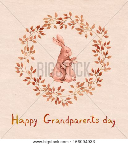 Grandparents day vintage greeting card. Grandparent rabbit hugging kid. Watercolor