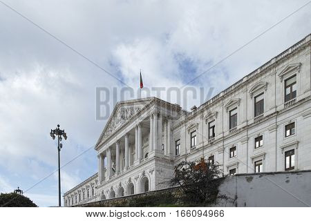 View of the monumental Portuguese Parliament (Sao Bento Palace) located in Lisbon Portugal.