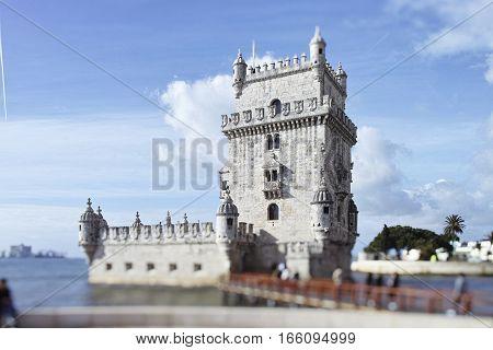 Belem tower on Tagus river Belem Lisbon Portugal. UNESCO World Heritage Site.
