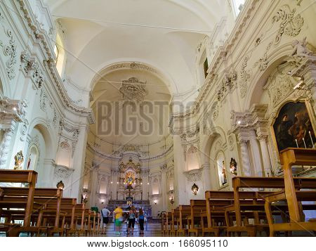 Noto, Italy - September 13, 2015: Interior of the Church of Saint Francis Immaculate, Sicilian baroque. Noto, Italy