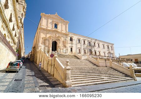 Noto, Italy - September 14, 2015: Panoramic view of the Church of Saint Francis Immaculate in the Noto, Italy