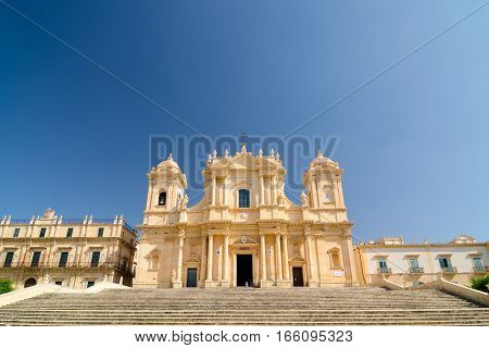 Noto, Italy - September 14, 2015: Noto Cathedral, La Chiesa Madre di San Nicolo is a Roman Catholic cathedral in Noto in Sicily, Italy. Built in the style of the Sicilian Baroque