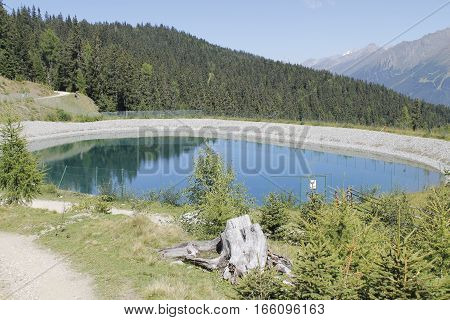 small mountain lake in the Alps in Italy