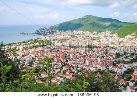 Top View Of The Town Of Budva With High Mountains. Montenegro.