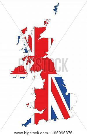 Map Of Great Britain. The silhouette of the flag of great Britain. Original abstract vector illustration.