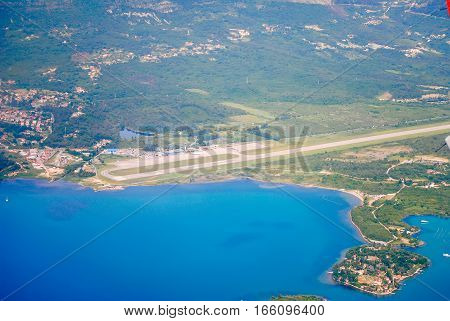 View From The Plane On The Shore Of Montenegro. Adriatic Sea.