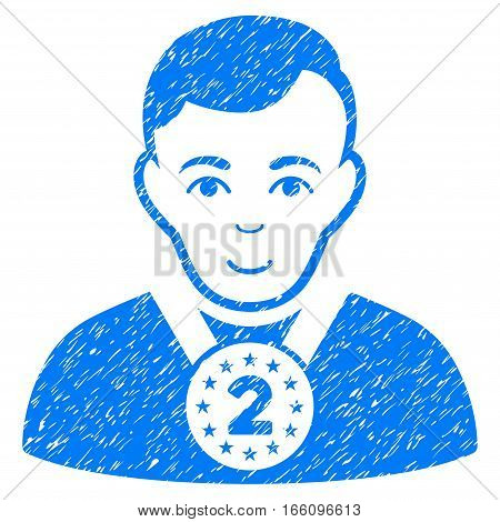 2nd Prizer Sportsman grainy textured icon for overlay watermark stamps. Flat symbol with dust texture. Dotted vector blue ink rubber seal stamp with grunge design on a white background.