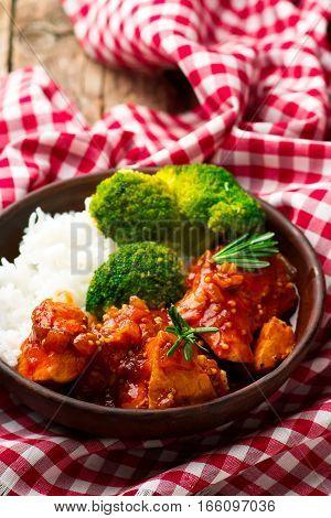 Honey-Mustard Slow Cooker Chicken.2 .  .selective focus