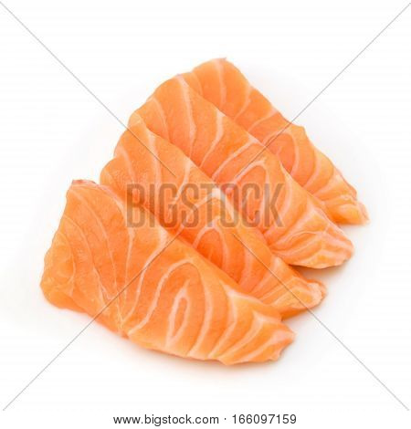 Slided Raw Salmon Sashimi Isolated White Background