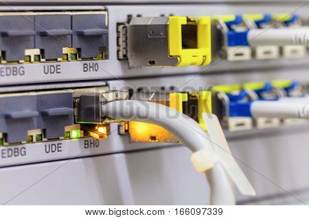 Equipment of radio base station close-up patch cord. Internet. Communication. Network