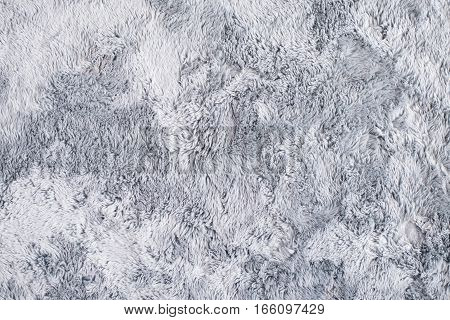Closeup Grey Faux Fur Carpet Rug Texture