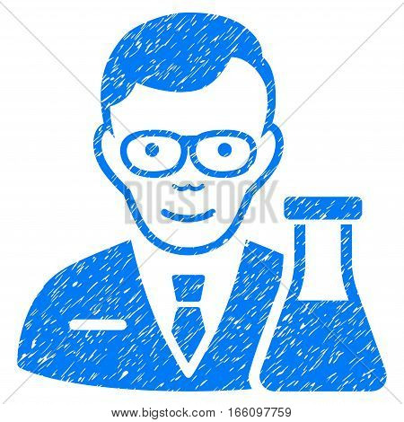 Chemist grainy textured icon for overlay watermark stamps. Flat symbol with unclean texture. Dotted vector blue ink rubber seal stamp with grunge design on a white background.