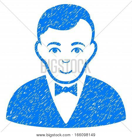 Dealer grainy textured icon for overlay watermark stamps. Flat symbol with scratched texture. Dotted vector blue ink rubber seal stamp with grunge design on a white background.