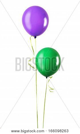 Two balloons green and purple isolated on a white background