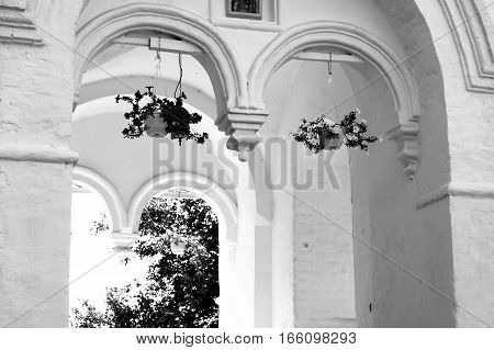 Fragment of church of St. Dimitrov Prilutsky on Navolok in Vologda Russia. Black and white.