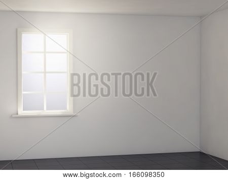 light white room with black floor. 3d rendering