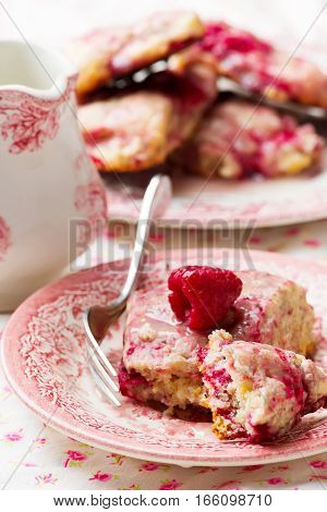 raspberry Scones with Glaze . selective focus