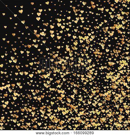 Gold Gradient Hearts Confetti. Abstract Random Scatter On Black Valentine Background. Vector Illustr