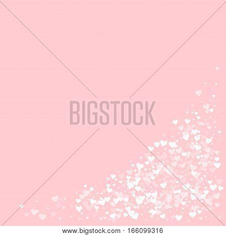 White Hearts Confetti. Bottom Right Corner On Pale_pink Valentine Background. Vector Illustration.
