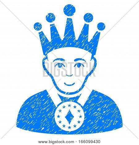 King grainy textured icon for overlay watermark stamps. Flat symbol with dirty texture. Dotted vector blue ink rubber seal stamp with grunge design on a white background.