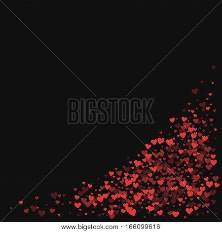 Red Hearts Confetti. Bottom Right Corner On Black Valentine Background. Vector Illustration.