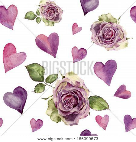 Watercolor seamless pattern with retro roses and hearts. Hand painted pink ornament isolated on white background. Valentine's day print