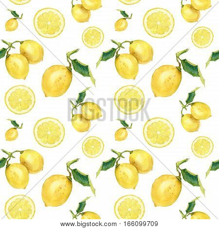 Watercolor seamless pattern with lemons. Citrus ornament on white background for design, fabric or print.