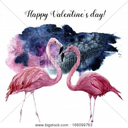 Watercolor card with couple of pink flamingo and Happy Valentine's Day inscription. Exotic hand painted bird illustration isolated on white background. For design, prints or background.