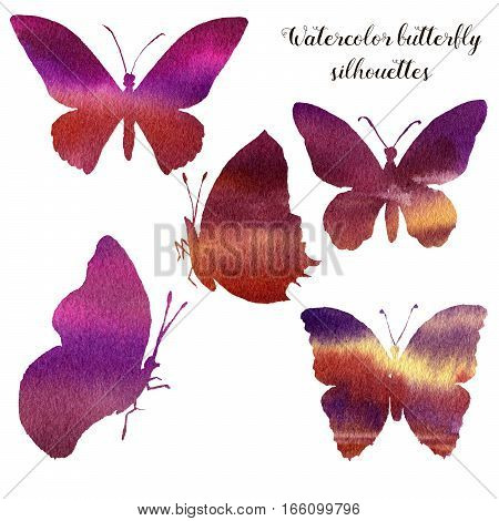 Watercolor set with silhouette of butterfly. Hand painted insect collection isolated on white background. Illustration for design, print