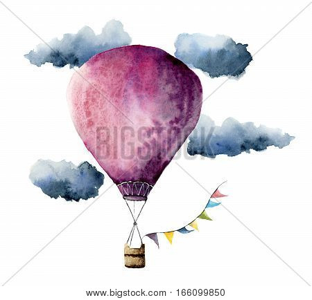 Watercolor violet hot air balloon. Hand painted vintage air balloons with flags garlands, clouds and retro design. Illustrations isolated on white background.