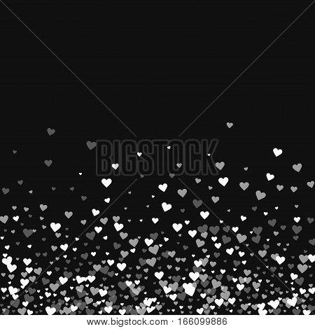 White Hearts Confetti. Scatter Bottom Gradient On Black Valentine Background. Vector Illustration.