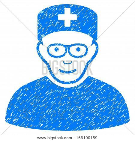 Medical Specialist grainy textured icon for overlay watermark stamps. Flat symbol with dirty texture. Dotted vector blue ink rubber seal stamp with grunge design on a white background.
