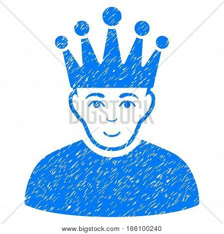 Moderator grainy textured icon for overlay watermark stamps. Flat symbol with unclean texture. Dotted vector blue ink rubber seal stamp with grunge design on a white background.