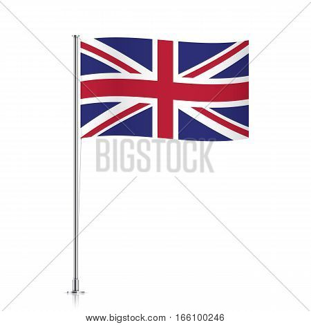 Great Britain vector flag template. Waving UK flag on a metallic pole, isolated on a white background.