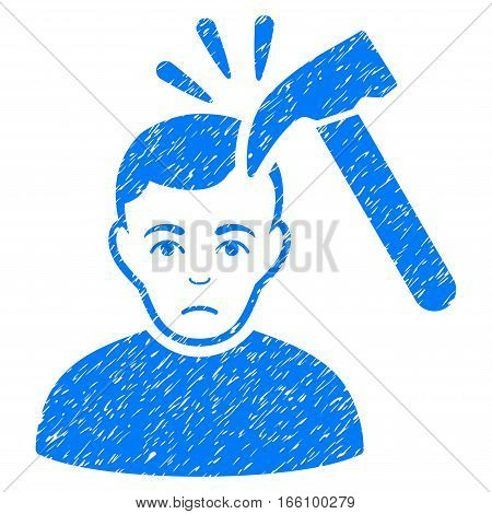 Murder With Hammer grainy textured icon for overlay watermark stamps. Flat symbol with dust texture. Dotted vector blue ink rubber seal stamp with grunge design on a white background.