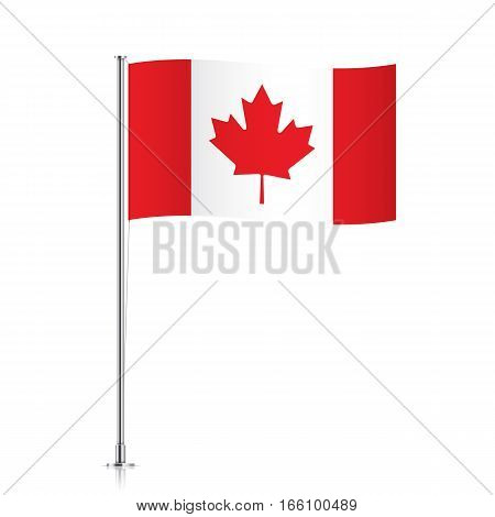 Canada vector flag template. Waving Canadian flag on a metallic pole, isolated on a white background.