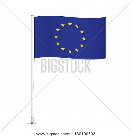 European Union vector flag template. Waving EU flag on a metallic pole, isolated on a white background.