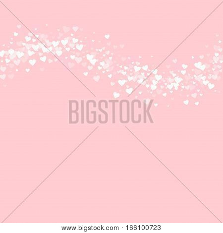 White Hearts Confetti. Top Wave On Pale_pink Valentine Background. Vector Illustration.