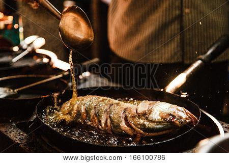 India Goa frying Fish oil pan coocking