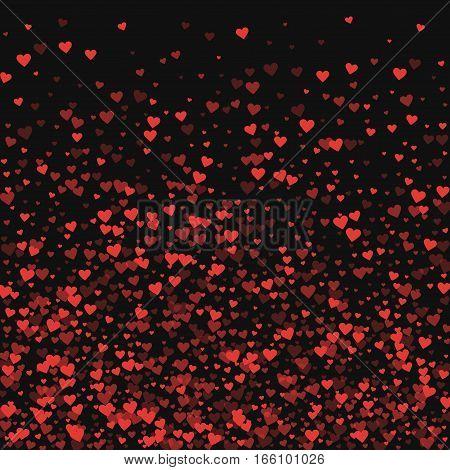 Red Hearts Confetti. Bottom Gradient On Black Valentine Background. Vector Illustration.