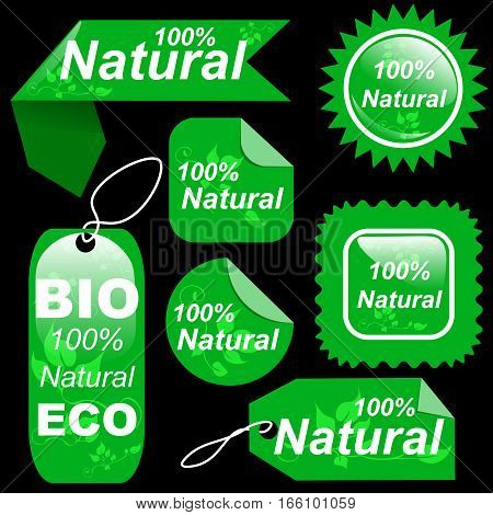 Shopping natural green sale tags labels set organic